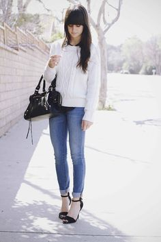 Sweater: F21, Blouse: F21, Jeans: Urban Outfitters, Heels: Zara