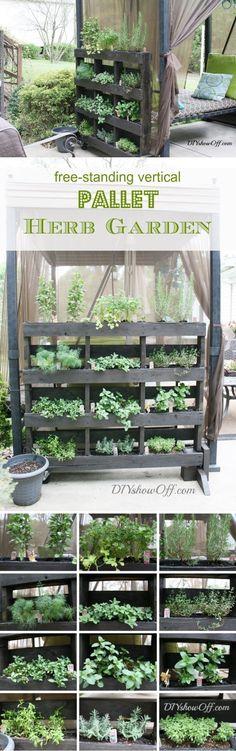 Free Standing Pallet Herb Garden | 19 Inspiring DIY Pallet Planter Ideas #herbgardendesign