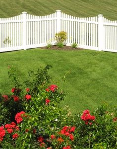 white+dog+eared+fence | V352-4TR Scalloped Contemporary Vinyl Picket Fence with Dog Ear Caps ...
