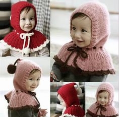 19*40mm Chic Girl Kids Knit Wool Dual Ball Hat Siamese Cap Shawl Cloak Wraps #eozy
