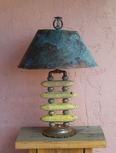 """""""Yellow Float Table Lamp with Copper Shade"""" Recycled Object Sculptor Artist Lane Patterson from Tucson Arizona Casual Table Lamp Made From Recycled Reclaimed Found Objects Green Art Green Lighting Green lighting lamp reclaimed object found object art functional hand made in usa unique unusual interesting fishing net floats shabby chic fine art original"""