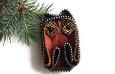 Fall Burnt Orange Owl Zipper brooch pin handmade wearable collectible art collectible One Of A Kind