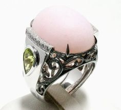 Pink Opal with Peridot and Diamond Ring in 18K White Gold