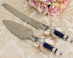 Champagne and Navy Cake Serving Set Cutting Set Knife Set Engraved Wedding Cake Serving Set Personalized Wedding Cake Server Set – İnteresting Cake İdeas Mini Wedding Cakes, Wedding Cake Server, Country Wedding Cakes, Wedding Knife Set, Navy Cakes, Buttercream Wedding Cake, Wedding With Kids, Wedding Ideas, Personalized Wedding