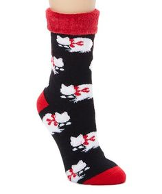 Look at this #zulilyfind! Black & White Cat Slipper Socks #zulilyfinds