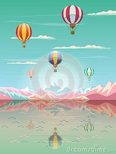 Summer sunset painting poster on the theme of Magic Travel Hot air balloons flying, Rocky Mountains reflection, lake, bright sky, airplane, Tropical sea beach landscape, sailing ship, sunrise morning, Adventure, Traveling, Voyage, Camping, outdoor recreation, adventures in nature illustration Vector Art. Sunrise cartoon. BON VOYAGE! concept design. 2018