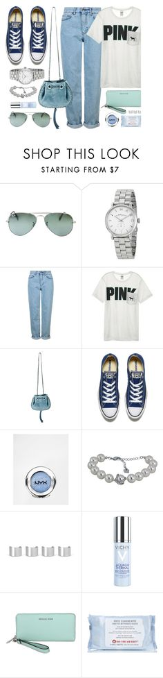 """""""Blue Shades"""" by jomashop ❤ liked on Polyvore featuring Ray-Ban, Marc by Marc Jacobs, Topshop, Victoria's Secret, Converse, NYX, Maison Margiela, Vichy, First Aid Beauty and Blue"""