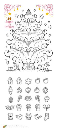 Calendrier de l'avent Christmas Makes, Noel Christmas, Christmas Colors, Winter Christmas, Christmas Templates, Christmas Printables, Christmas Activities For Kids, Christmas Drawing, Theme Noel