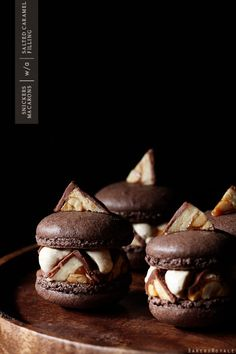 Snickers Macaron.....Grab a cuppa and shut the door for this: Snickers Macaron. You know the fancy-schmancy French cookies with the crisp shell that cracks and gives way to a chewy body.