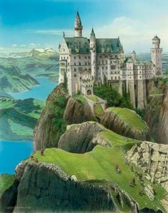 Bud Chapman Gallery ‏ DYK was inspiration for golf fantasy now also as single prints Halloween Eve, Neuschwanstein Castle, Bud, Barcelona Cathedral, 18th, Golf, Fantasy, Mansions, House Styles