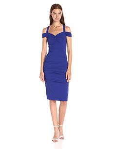 Nicole Miller Womens Structured Heavy Jersey Off Shoulder Dress with Ruching Royal 10 * Want additional info? Click on the image.(This is an Amazon affiliate link and I receive a commission for the sales)