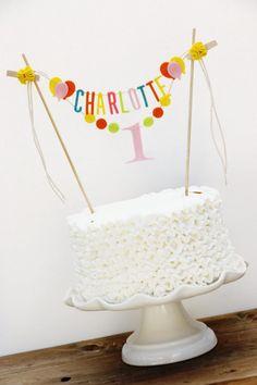 Birthday Cake Banner, Personalized Birthday Cake Banner, Custom Cake Banner, One Cake Banner, Smash Cake Banner: Bright Pastels