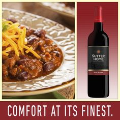 Looking for a perfect pairing for your favorite comfort food? Try Sutter Home Red Blend with a hearty slow-cooker beef chili.