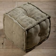 @Overstock - Vintage decor is combined with world art in this unique canvas pouf ottoman, handcrafted by artisans in Northwestern India. This cotton-filled ottoman is made of reclaimed army tent canvas.http://www.overstock.com/Worldstock-Fair-Trade/Stamped-Army-Canvas-Pouf-Ottoman-India/7471694/product.html?CID=214117 $103.99