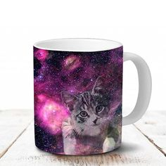 Cat Coffee Mug  Pink Galaxy with Cat Coffee Cup  by SnowlisaW