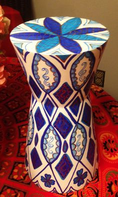 """Hand Painted Bohemian Wood Drum Style Blues, Gold and White Display Table or Vase 7""""Wx12""""Hx7""""D V0022"""