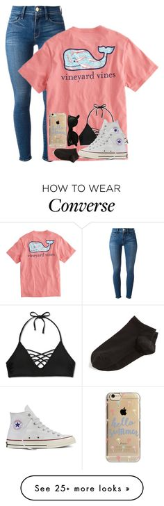 """Vineyard Vines"" by lexiii-caniff on Polyvore featuring Frame Denim, Vineyard Vines, Xhilaration, Converse, Wolford, Agent 18 and Ray-Ban"