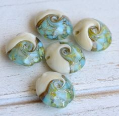 ivory and aqua larimar look a likes lentil by kreationsbykarenk