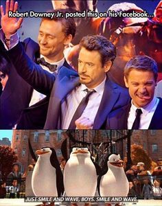 Oh my gosh, look at Jeremy Renner and then at his penguin! xD