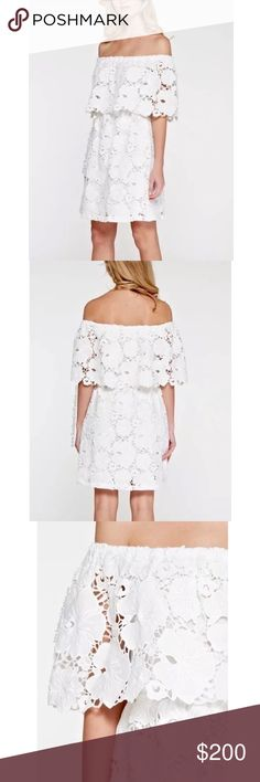FLORAL MINI Off the Shoulder Lace Embroidered Gown Available Sizes: S, M, L. Brand New.  • Beautiful white mini dress featuring an effortless silhouette & textured lace fabric.   • Intricate floral lace detailing throughout & raw pieced crochet design. • Banded shoulders & waist allow for the perfect amount of stretch. • Wear above or off the shoulders. • Much prettier in person! • Runs true to size. Bridal Wedding  { Southern Girl Fashion }  ✔️ Same-Business-Day Shipping (10am CT). ✔️ Price…