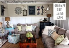 My Farmhouse Chic Living Room Reveal, by Chic on a Shoestring Decorating