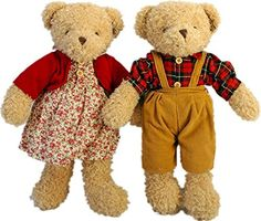 Mike  Mary Teddy Bear Plush Toys Countryside Style 2pcspair 16inches Stuffed Animals Bear Lovers Couples Doll >>> Find out more about the great product at the image link.