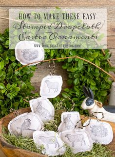 Step by step directions for making these Easter ornaments that will a cute addition to your decor! Seasonal Decor, Fall Decor, Holiday Decor, Spring Decorations, Drop Cloth Projects, Diy Projects, Easy Easter Crafts, Summer Crafts, Home Interiors And Gifts