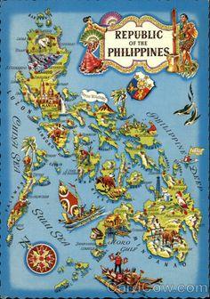 Continental Chrome Postcard Republic of the Philippines Maps Philippine Mythology, Philippine Map, Filipino Art, Filipino Culture, Philippines Culture, Philippines Travel, Davao, Cebu, Makati