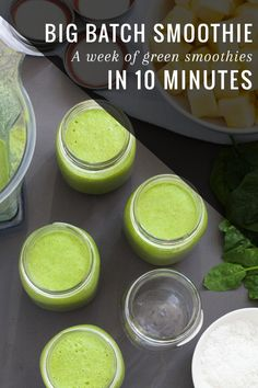 Make a week of green smoothies in 10 minutes! Love this.