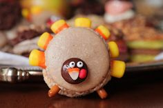 fun turkey macarons - and Caramel Apple Macarons with Cinnamon Apple Butter Buttercream.  These make me want to get over my fear of making macarons!