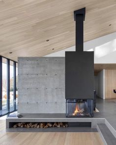 Located in Canada, this ultra modern home has floor to ceiling windows, white cedar cladding, concrete finishes and one slick black… Concrete Cladding, Cedar Cladding, Black Cladding, Steel Cladding, Modern Architecture House, Modern House Design, Concrete Architecture, Architecture Design, Interior Cladding