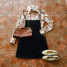 Found at Common Sort - vintage shirt, Free People dungaree dress, Bottega Veneta flats and vintage purse