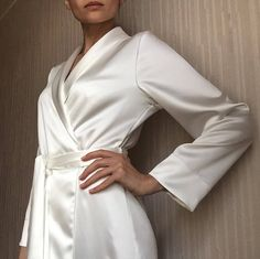 The feminine link for these disparate styles is softness. The feminine is all about any article of clothing that brings out an air of softness and airy qualities. Silk Robe Long, Silk Kimono Robe, Silk Image, White Bridal Robe, Babydoll, Lingerie Outfits, Lace Sleeves, Vintage Fashion, Fashion Outfits