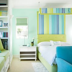 """There are a lot of vibrant colors in this room, but the pale green on the walls — like mint icing on a cupcake — is the one that sticks with you. It calms down the bright upholstery and feels cool and soothing. I did this room for a 14-year-old who's now in college, and she asked her mother if I could decorate her dorm room the same way. That was a big compliment."" —Natasha Baradaran    - HouseBeautiful.com"