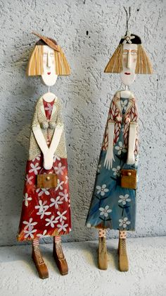 "Art in your environment makes you feel as good as pretty clothes.... these ""Ladies with Accessories"" are by Lynn Muir, a British artist whose sense of whimsy creates these ""characters"" from re-claimed wood that washes up on the shore by her studio in Cornwall!"