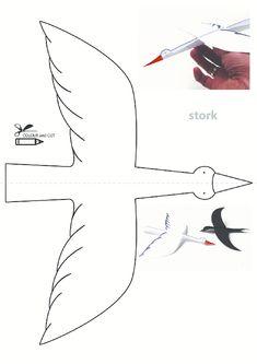 Leylek Kalıbı Stork Bird Pattern Activities Worksheet, Patterns Activity Studies Samples Pages Print Fall Arts And Crafts, Fall Crafts For Kids, Diy For Kids, Children Crafts, Bird Patterns, Craft Patterns, Diy Paper, Paper Crafts, Autism Crafts