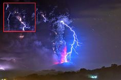 CHILE: UFOs no vulcão calbuco e figura Humanoide Gigantesca em nuvem de Cinzas