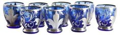 Blue & Silver Overlay Shot Glasses, S/8 https://www.onekingslane.com/shop/debra-hall-lifestyle