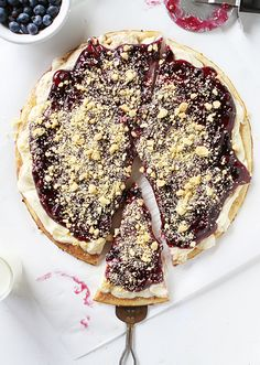 Rustic Blueberry Dessert Pizza! I'd make the crust and the blueberry filling and not use pre-made