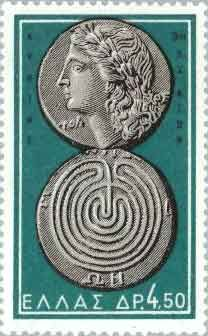A stamp bearing the image of a 3 BC coin from Crete. Apollo's profile is on the front of the coin; a classic Cretan labyrinth is on the back.