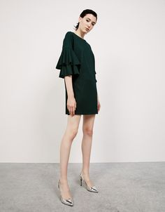 Ottoman dress with ruffled sleeves. Discover this and many more items in Bershka with new products every week