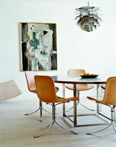 One of the nicest mid-century chairs and dining table from scandinavia. PK9 Chair and PK54 table by Poul Kjærholm