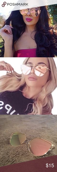 Rose Gold Cat Aviator Sunnies Sunglasses NEW Rose Gold Sunglasses with Gold Frame - Brand New Accessories Glasses