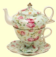 Tea for One Set Porcelain Floral Chintz