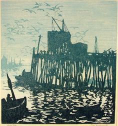 ✽ 'low tide' - tod lindenmuth - 1885-1956 - woodcut