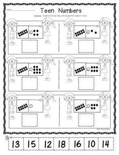 """Teen Number """"Puzzle Kids"""" Workpages. $"""