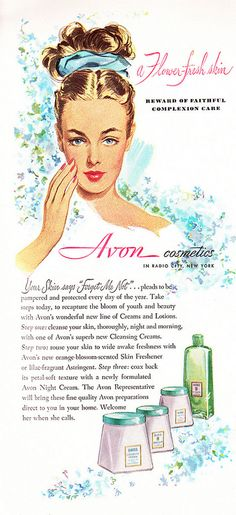 Illustrated 1947 Cosmetics Ad, Avon Skin Care Products | Flickr - Photo Sharing!