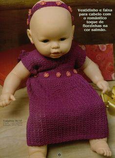 ઇઉ Crochê + Tricô ઇઉ: Vestido Bebê Crochê - Receita c/ Gráfico