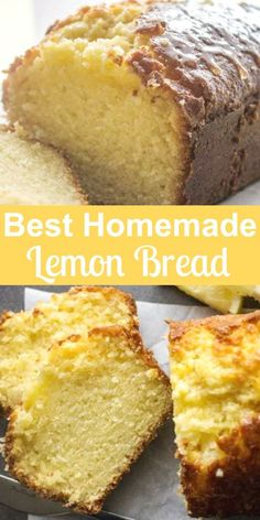 A tangy delicious sweet Easy Lemon Bread Recipe. A moist sweet homemade loaf with a simple glaze, perfect for every occasion. - - A tangy delicious sweet Easy Lemon Bread Recipe. A moist sweet homemade loaf with a simple glaze, pe Bon Dessert, Low Carb Dessert, Dessert Bread, Dessert Simple, Bread Cake, Dessert Food, Loaf Recipes, Quick Bread Recipes, Lemon Recipes
