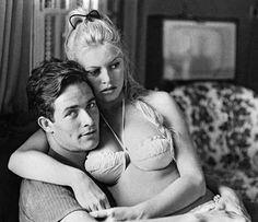 Brigitte Bardot and husband Jacques Charrier, 1959 Bridgitte Bardot, French Actress, Old Actress, Brigitte Bardot Young, Brigitte Bardot Bikini, Jacques Charrier, Wow Photo, Haha, Marlene Dietrich